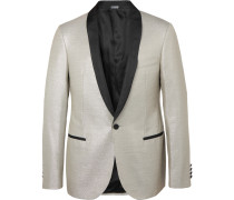 Silver Faille-trimmed Wool-blend Tuxedo Jacket