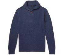 Shawl-collar Donegal Merino Wool-blend Sweater - Navy