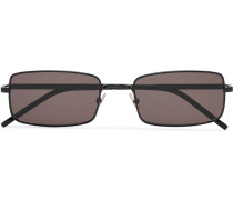 Square-frame Matte-metal Sunglasses - Black