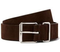 3.5cm Dark-brown Suede Belt - Brown