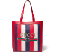 Leather-trimmed Logo-print Striped Canvas Tote Bag