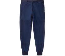 Tapered Indigo-dyed Cotton-twill Trousers - Indigo
