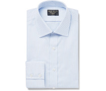 Sky-Blue Slim-Fit Pinstriped Cotton Oxford Shirt