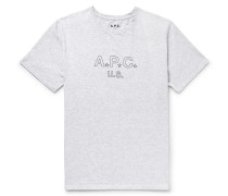 Printed Mélange Cotton-blend Jersey T-shirt