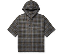 Oversized Checked Cotton-flannel Zip-up Hoodie