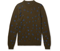 Embroidered Wool-blend Sweater - Green