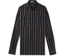 Slim-fit Striped Cotton-poplin Shirt - Navy