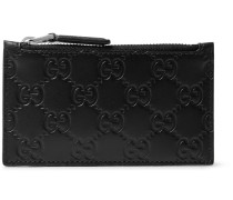 Embossed Leather Zipped Cardholder - Black