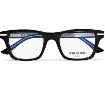 Square-frame Acetate And Silver-tone Optical Glasses - Black