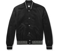 Embroidered Gabardine Bomber Jacket