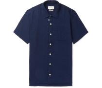 Indigo-dyed Textured-cotton Shirt