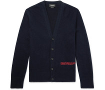 Slim-fit Embroidered Wool-blend Cardigan - Midnight blue