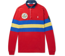 Logo-embroidered Appliquéd Striped Jersey Polo Shirt - Red