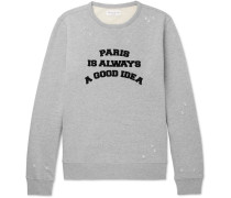 Flocked Distressed Loopback Cotton-jersey Sweatshirt