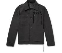 Lace-detailed Bonded Cotton-canvas Jacket - Black