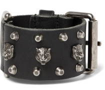 Tiger-embellished Leather Bracelet - Black
