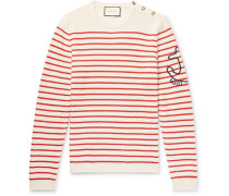 Embroidered Striped Cotton And Cashmere-blend Sweater