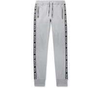 Slim-fit Tapered Logo-jacquard Loopback Cotton-blend Jersey Sweatpants - Gray