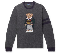 Bear-embroidered Wool Sweater