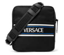 Leather And Mesh-trimmed Logo-print Shell Messenger Bag - Black