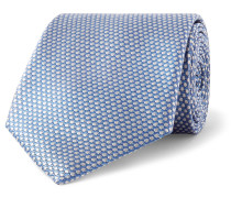 7.5cm Polka-dot Silk-jacquard Tie - Light blue