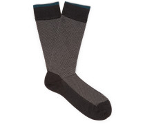 Patterned Pima Cotton-blend Socks - Gray