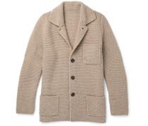 Slim-fit Textured Wool And Cashmere-blend Cardigan - Mushroom