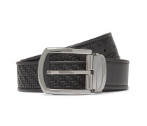 3.5cm Black Reversible Pelletessuta Leather Belt - Black