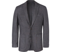 Grey Unstructured Dogtooth Wool And Silk-blend Blazer