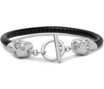 Silver-tone And Leather Skull Bracelet