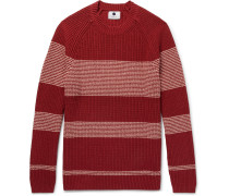 Slim-fit Striped Silk And Cotton-blend Sweater - Red
