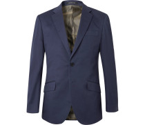 Navy Stretch-Cotton Twill Suit Jacket