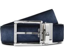 3.5cm Navy Suede Belt