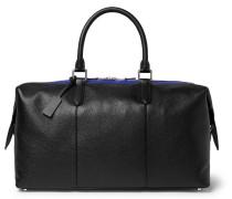 Burlington Striped Full-grain Leather Holdall - Black
