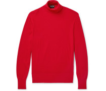 Ribbed Cashmere And Silk-blend Rollneck Sweater - Red