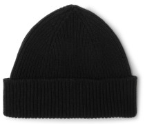Ribbed Cashmere And Wool-blend Beanie - Black