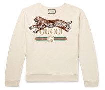 Appliquéd Logo-print Loopback Cotton-jersey Sweatshirt