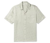 Logo-Print Piped Satin Shirt