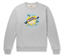 Embroidered Printed Loopback Cotton-jersey Sweatshirt - Gray