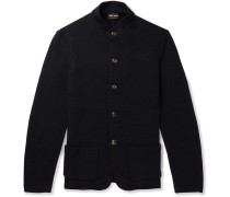 Slim-fit Cotton And Cashmere-blend Cardigan - Navy