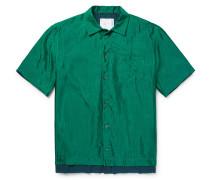 Oversized Layered Silk-ripstop Shirt