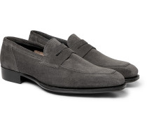 + George Cleverley Suede Penny Loafers - Dark gray