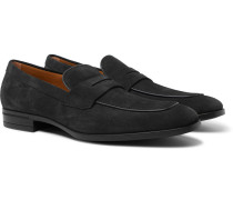 Kensington Suede Penny Loafers - Gray