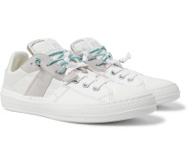 Replica Suede And Leather-trimmed Canvas And Shell Slip-on Sneakers - White
