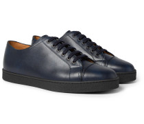 Levah Cap-toe Leather Sneakers - Navy