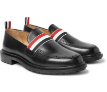 Grosgrain-trimmed Leather Penny Loafers