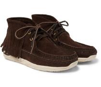 Voyageur Moc Shaman-folk Fringed Suede Boots - Dark brown