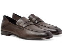 L'asola Collapsible-heel Textured-leather Penny Loafers - Dark brown
