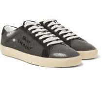 Sl/06 Suede-trimmed Distressed Coated-canvas Sneakers - Gray