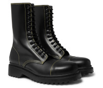 Cap-toe Leather Boots - Black